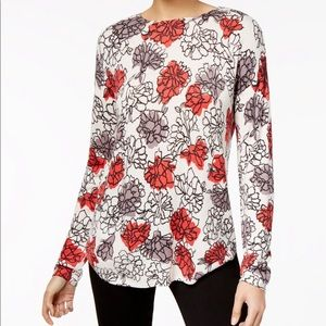 NWT Olivia and Grace Printed Boat Neck Sweater